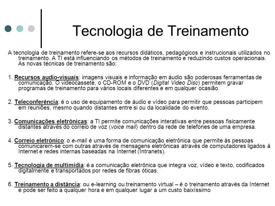Tecnologia de Treinamento A tecnologia de treinamento refere-se aos recursos didáticos, pedagógicos e instrucionais utilizados no treinamento. A TI es