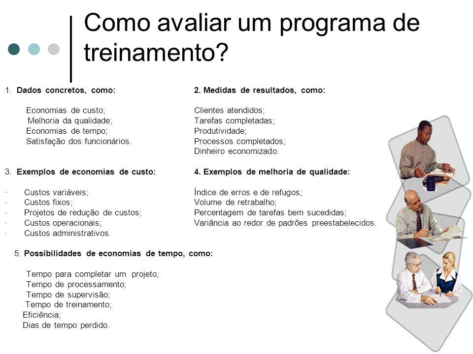 Como avaliar um programa de treinamento? 1. Dados concretos, como:2. Medidas de resultados, como: Economias de custo;Clientes atendidos; Melhoria da q
