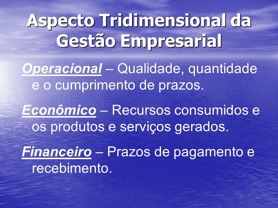 Aspecto Tridimensional da Gestão Empresarial Operacional – Qualidade, quantidade e o cumprimento de prazos. Econômico – Recursos consumidos e os produ