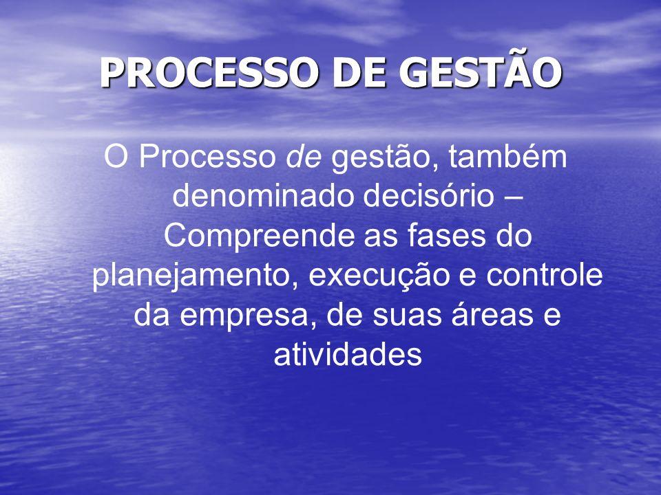 PROCESSO DE GESTÃO O Processo de gestão, também denominado decisório – Compreende as fases do planejamento, execução e controle da empresa, de suas ár