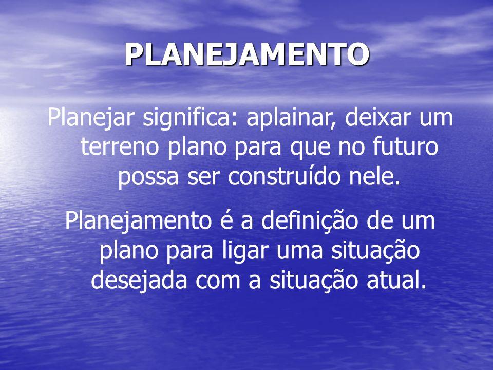 PLANEJAMENTO Planejar significa: aplainar, deixar um terreno plano para que no futuro possa ser construído nele. Planejamento é a definição de um plan