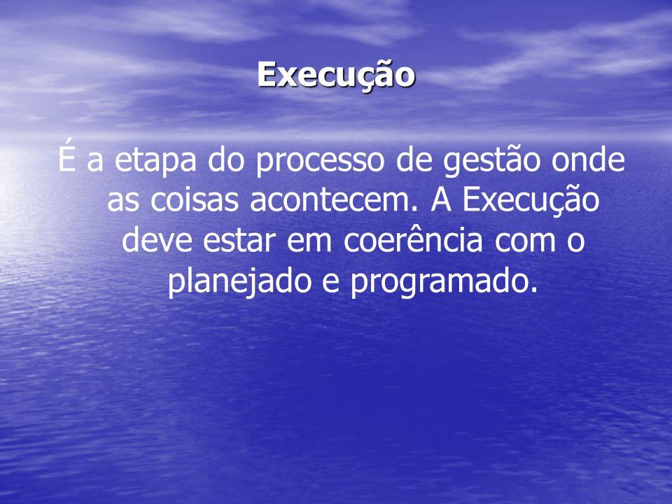 Execução É a etapa do processo de gestão onde as coisas acontecem. A Execução deve estar em coerência com o planejado e programado.