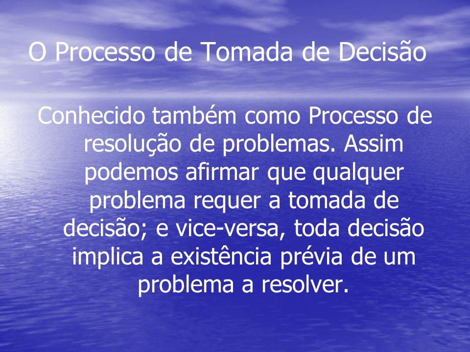 O Processo de Tomada de Decisão Conhecido também como Processo de resolução de problemas. Assim podemos afirmar que qualquer problema requer a tomada