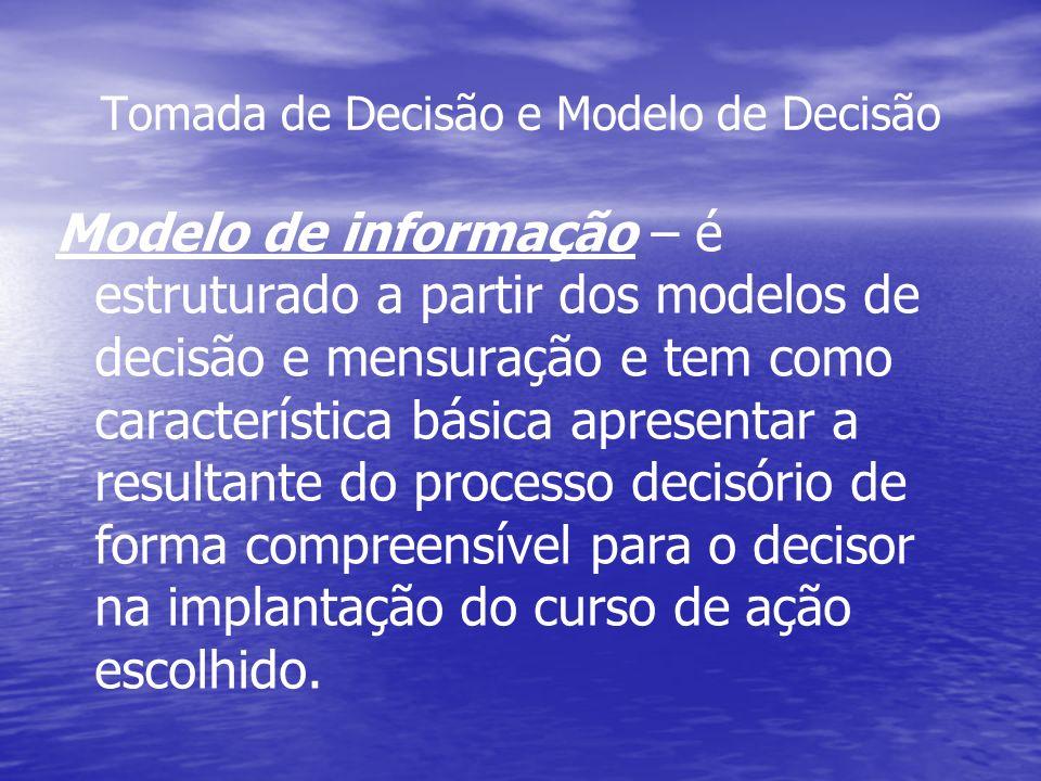 Tomada de Decisão e Modelo de Decisão Modelo de informação – é estruturado a partir dos modelos de decisão e mensuração e tem como característica bási