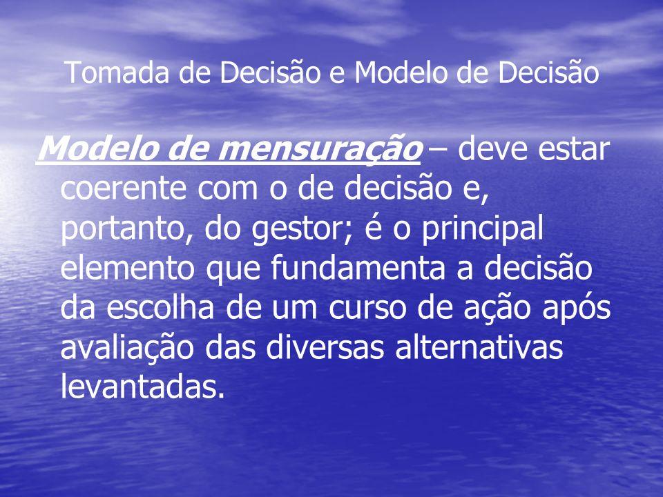 Tomada de Decisão e Modelo de Decisão Modelo de mensuração – deve estar coerente com o de decisão e, portanto, do gestor; é o principal elemento que f