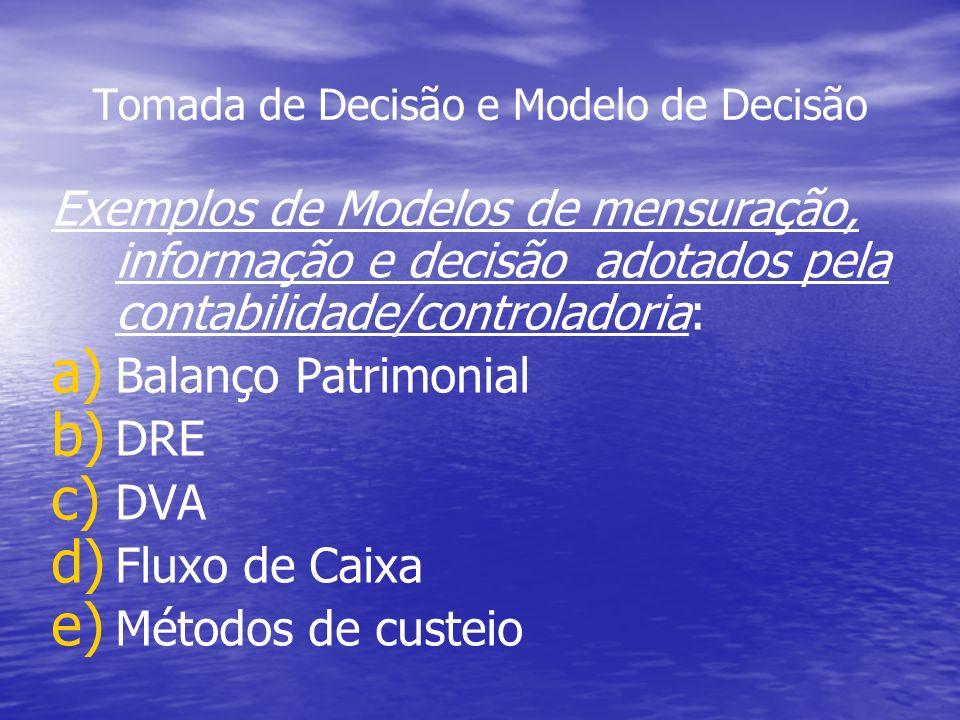 Tomada de Decisão e Modelo de Decisão Exemplos de Modelos de mensuração, informação e decisão adotados pela contabilidade/controladoria: a) a) Balanço