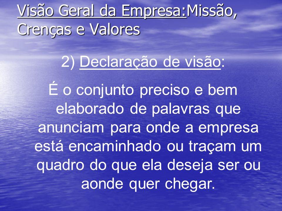 Visão Geral da Empresa:Missão, Crenças e Valores 2) Declaração de visão: É o conjunto preciso e bem elaborado de palavras que anunciam para onde a emp
