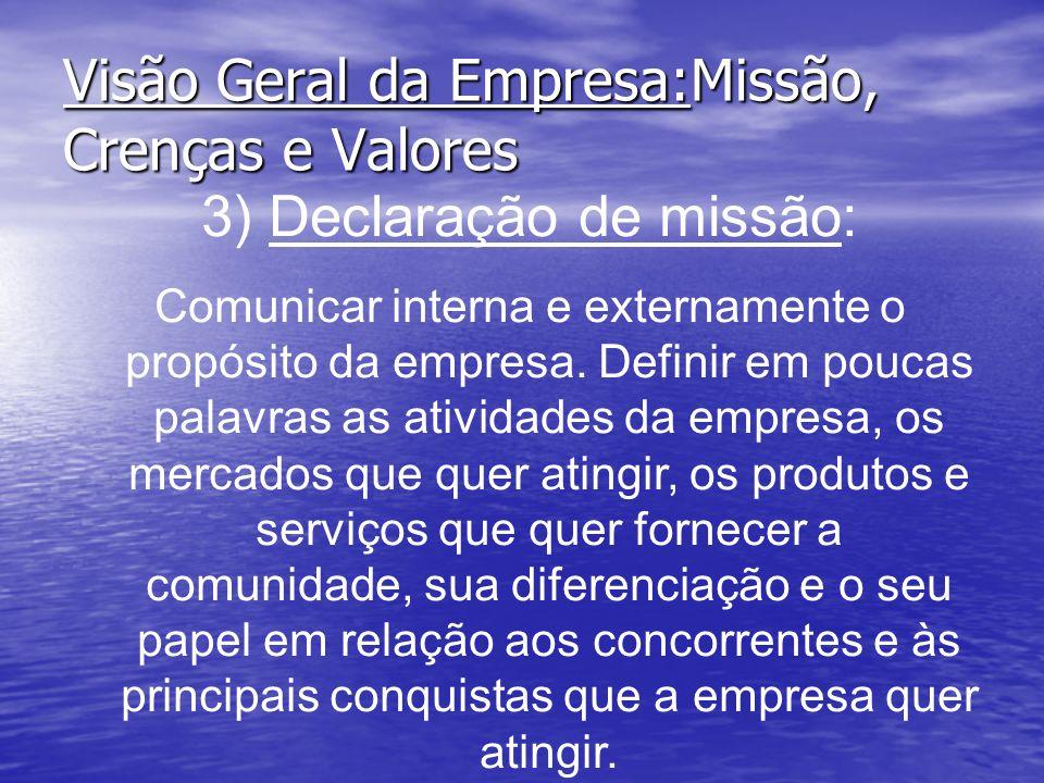 Visão Geral da Empresa:Missão, Crenças e Valores 3) Declaração de missão: Comunicar interna e externamente o propósito da empresa. Definir em poucas p
