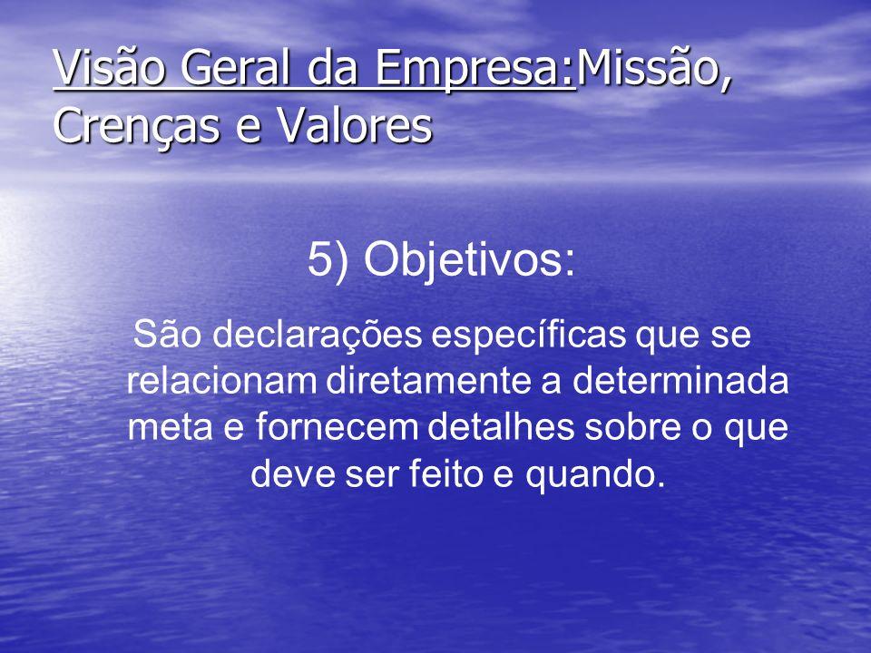 Visão Geral da Empresa:Missão, Crenças e Valores 5) Objetivos: São declarações específicas que se relacionam diretamente a determinada meta e fornecem