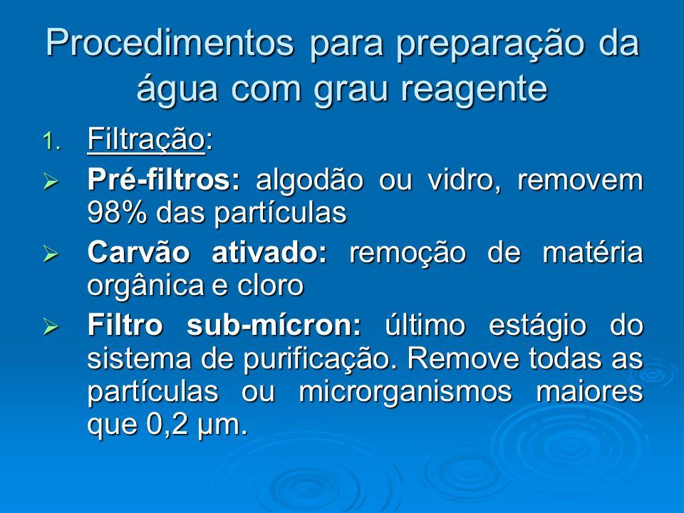 Procedimentos para preparação da água com grau reagente 1. Filtração: Pré-filtros: algodão ou vidro, removem 98% das partículas Pré-filtros: algodão o