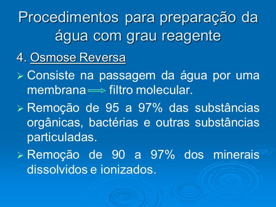 Procedimentos para preparação da água com grau reagente 4. Osmose Reversa Consiste na passagem da água por uma membrana filtro molecular. Remoção de 9