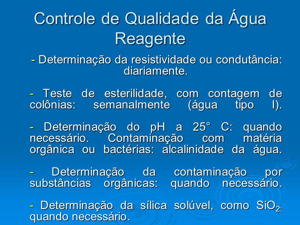 Controle de Qualidade da Água Reagente - Determinação da resistividade ou condutância: diariamente. - Teste de esterilidade, com contagem de colônias: