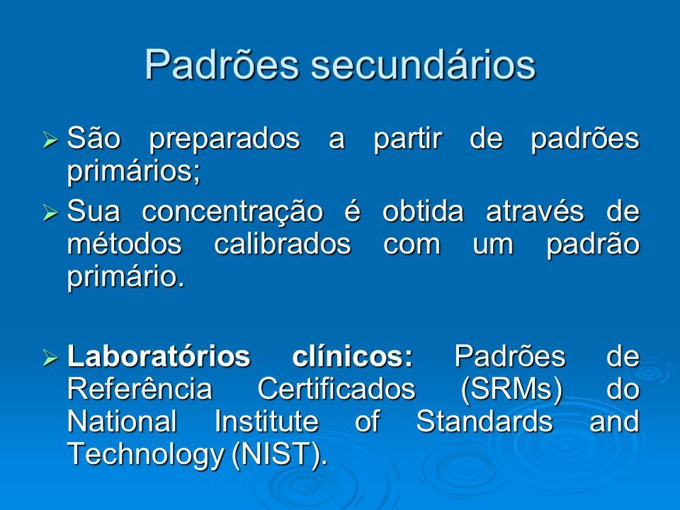 Padrões secundários São preparados a partir de padrões primários; São preparados a partir de padrões primários; Sua concentração é obtida através de m