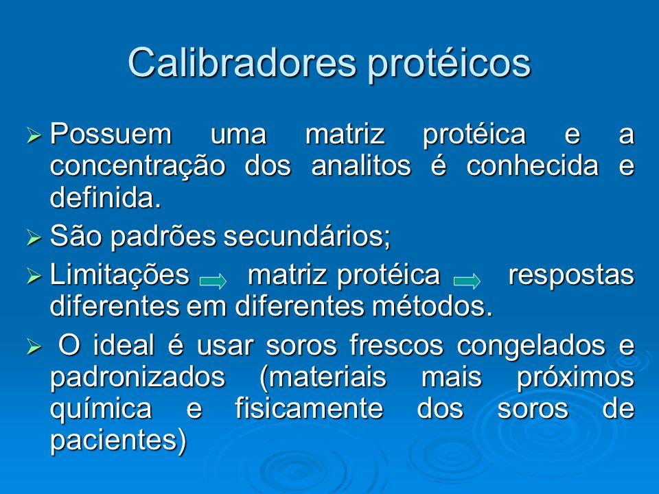 Calibradores protéicos Possuem uma matriz protéica e a concentração dos analitos é conhecida e definida. Possuem uma matriz protéica e a concentração