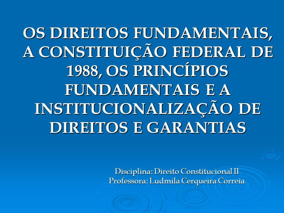 Disciplina: Direito Constitucional II Professora: Ludmila Cerqueira Correia OS DIREITOS FUNDAMENTAIS, A CONSTITUIÇÃO FEDERAL DE 1988, OS PRINCÍPIOS FUNDAMENTAIS E A INSTITUCIONALIZAÇÃO DE DIREITOS E GARANTIAS