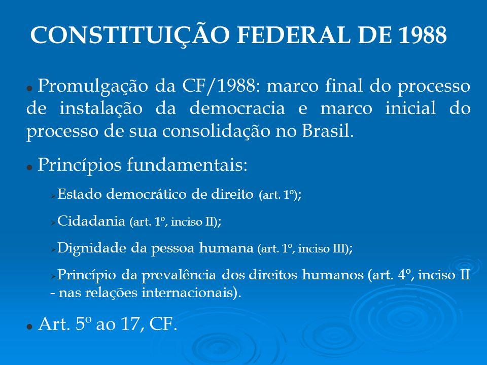 Promulgação da CF/1988: marco final do processo de instalação da democracia e marco inicial do processo de sua consolidação no Brasil.