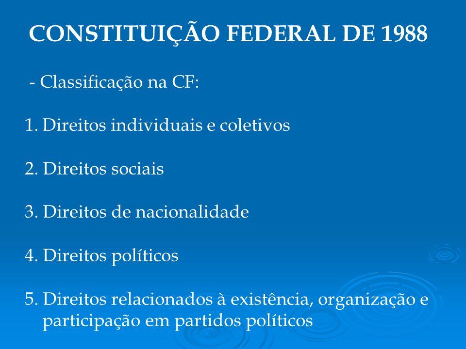- Classificação na CF: 1.Direitos individuais e coletivos 2.