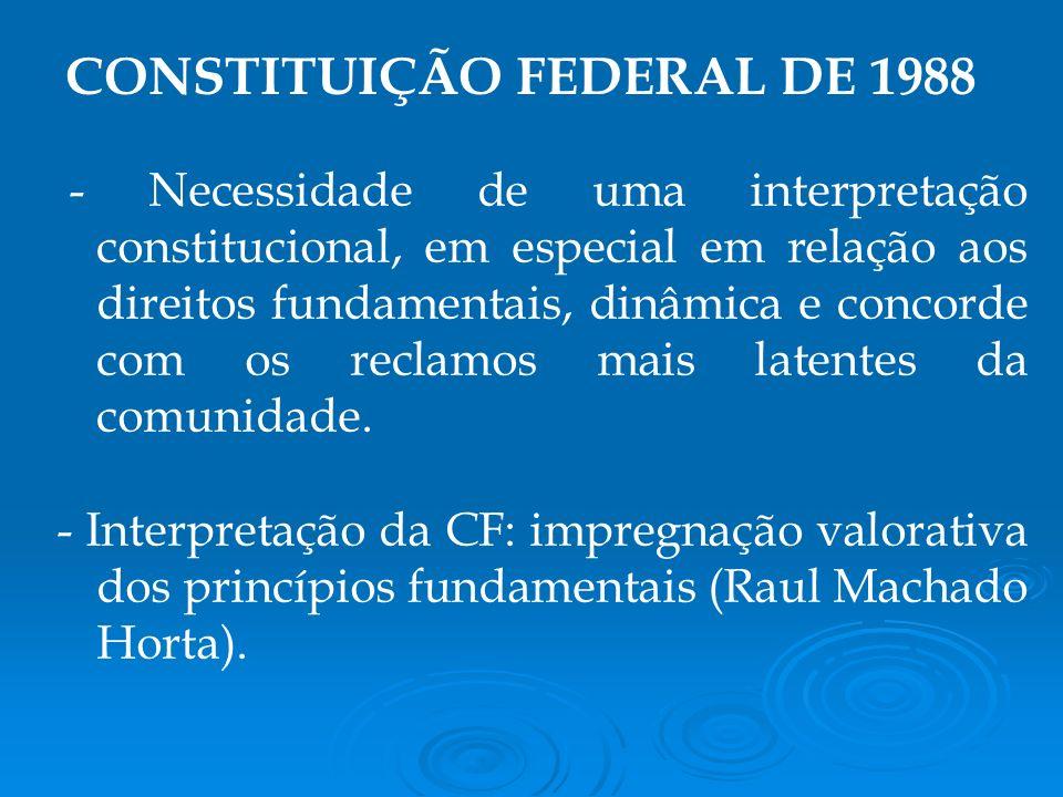 - Necessidade de uma interpretação constitucional, em especial em relação aos direitos fundamentais, dinâmica e concorde com os reclamos mais latentes da comunidade.