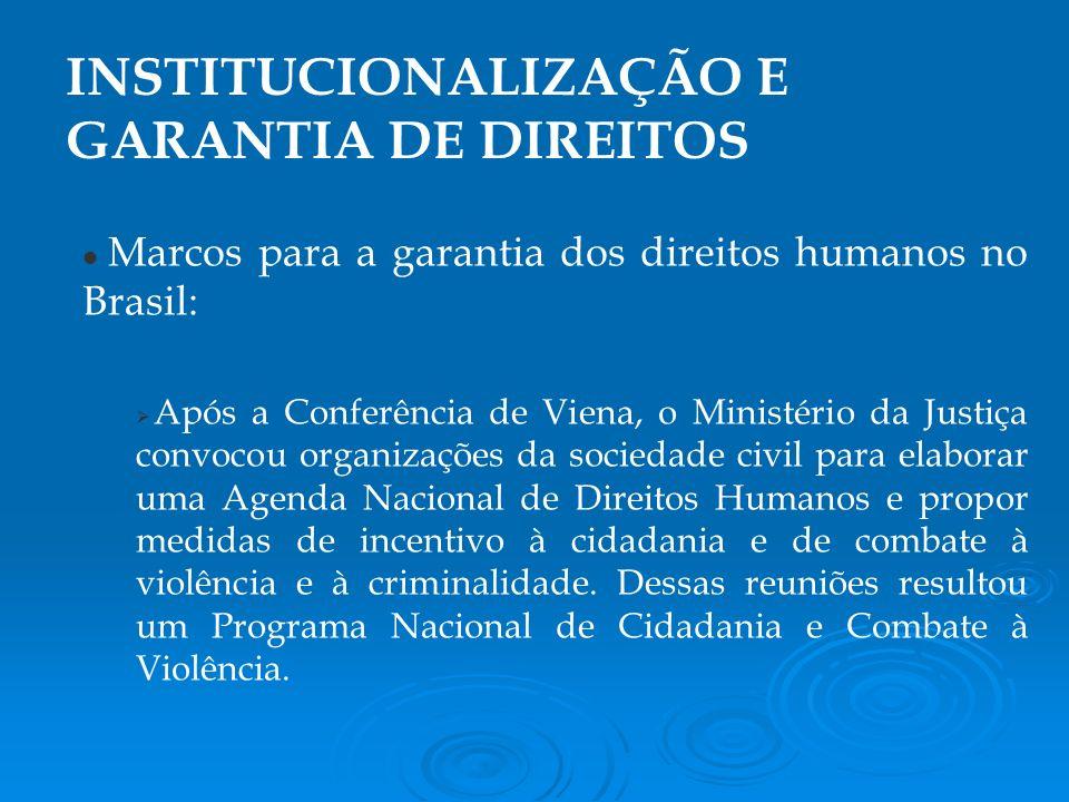 Marcos para a garantia dos direitos humanos no Brasil: Após a Conferência de Viena, o Ministério da Justiça convocou organizações da sociedade civil para elaborar uma Agenda Nacional de Direitos Humanos e propor medidas de incentivo à cidadania e de combate à violência e à criminalidade.