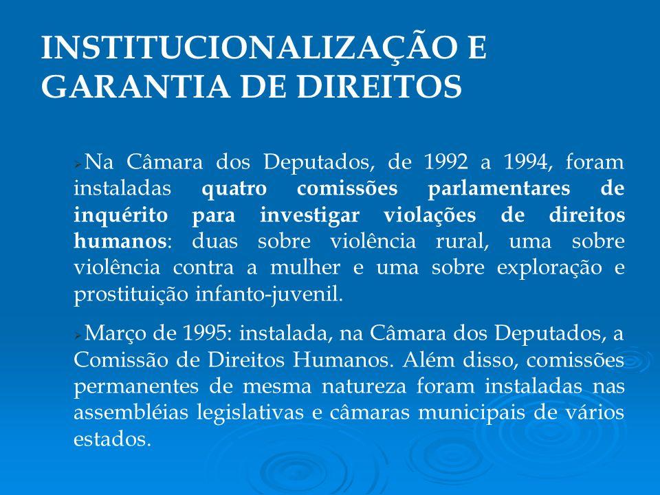 Na Câmara dos Deputados, de 1992 a 1994, foram instaladas quatro comissões parlamentares de inquérito para investigar violações de direitos humanos : duas sobre violência rural, uma sobre violência contra a mulher e uma sobre exploração e prostituição infanto-juvenil.