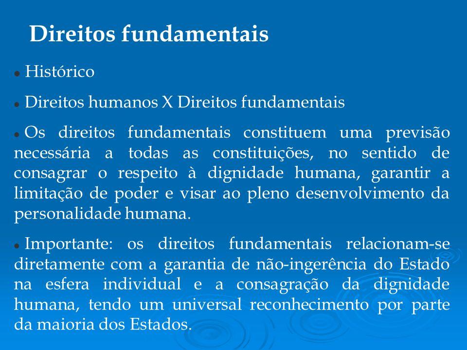 Histórico Direitos humanos X Direitos fundamentais Os direitos fundamentais constituem uma previsão necessária a todas as constituições, no sentido de consagrar o respeito à dignidade humana, garantir a limitação de poder e visar ao pleno desenvolvimento da personalidade humana.