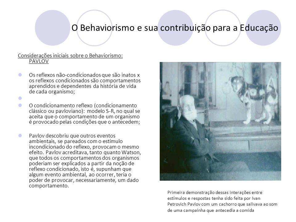 O Behaviorismo e sua contribuição para a Educação Considerações iniciais sobre o Behaviorismo: PAVLOV Os reflexos não-condicionados que são inatos x o
