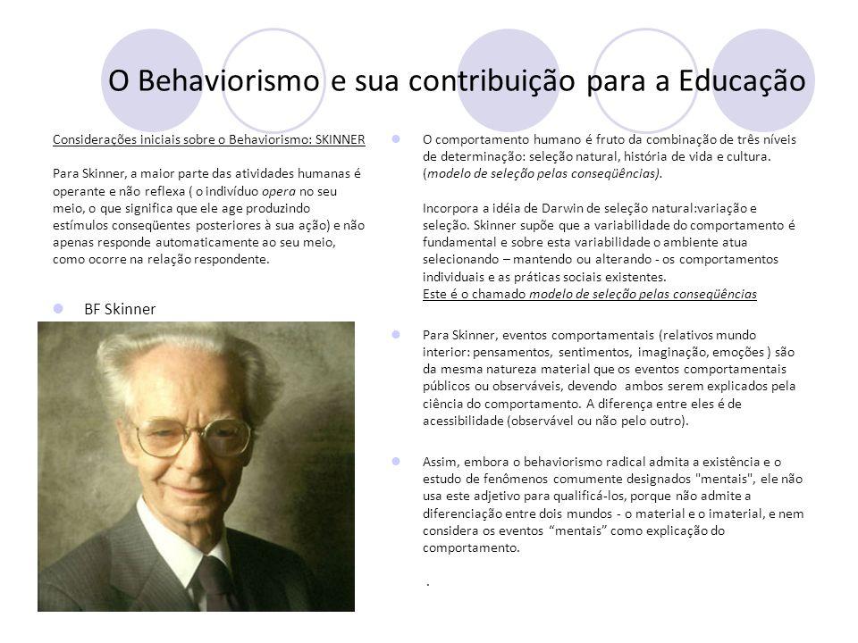 O Behaviorismo e sua contribuição para a Educação Considerações iniciais sobre o Behaviorismo: SKINNER A relação comportamental operante: o papel das conseqüências Para Skinner, a maior parte do comportamento humano é operante.