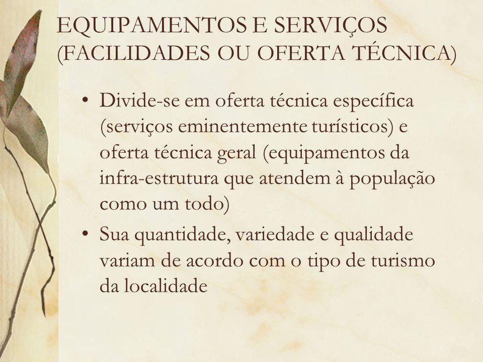EQUIPAMENTOS E SERVIÇOS (FACILIDADES OU OFERTA TÉCNICA) Divide-se em oferta técnica específica (serviços eminentemente turísticos) e oferta técnica ge