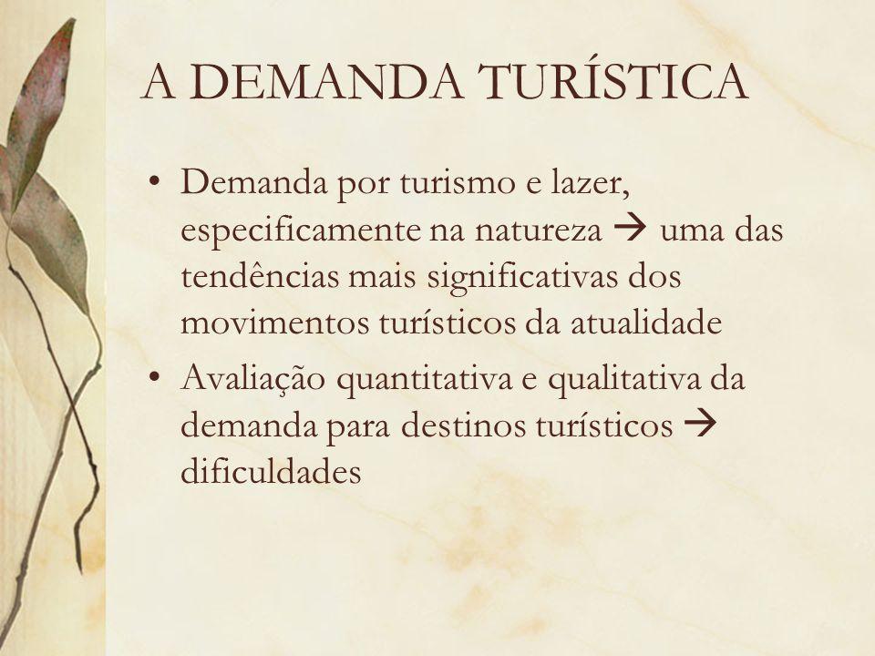 A DEMANDA TURÍSTICA Demanda por turismo e lazer, especificamente na natureza uma das tendências mais significativas dos movimentos turísticos da atual