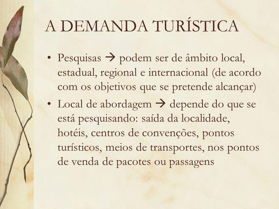 A DEMANDA TURÍSTICA Pesquisas podem ser de âmbito local, estadual, regional e internacional (de acordo com os objetivos que se pretende alcançar) Loca