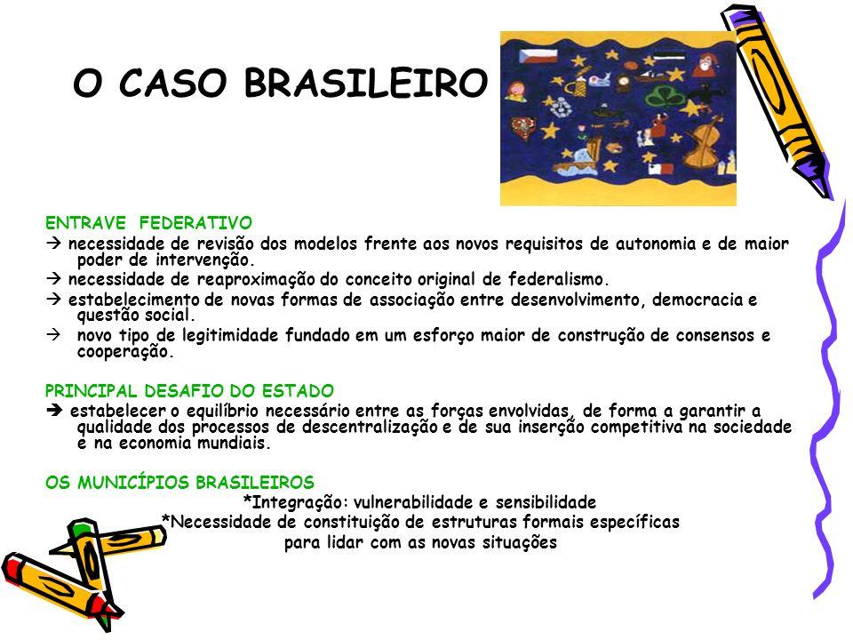 O CASO BRASILEIRO ENTRAVE FEDERATIVO necessidade de revisão dos modelos frente aos novos requisitos de autonomia e de maior poder de intervenção. nece