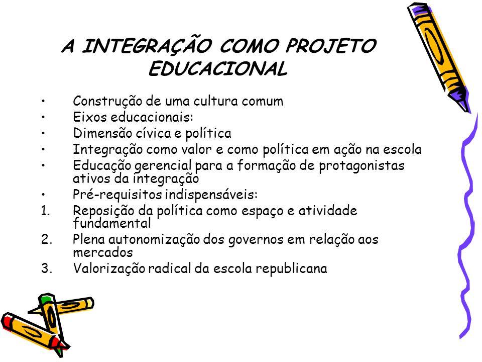 A INTEGRAÇÃO COMO PROJETO EDUCACIONAL Construção de uma cultura comum Eixos educacionais: Dimensão cívica e política Integração como valor e como polí