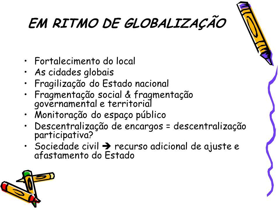 EM RITMO DE GLOBALIZAÇÃO Fortalecimento do local As cidades globais Fragilização do Estado nacional Fragmentação social & fragmentação governamental e