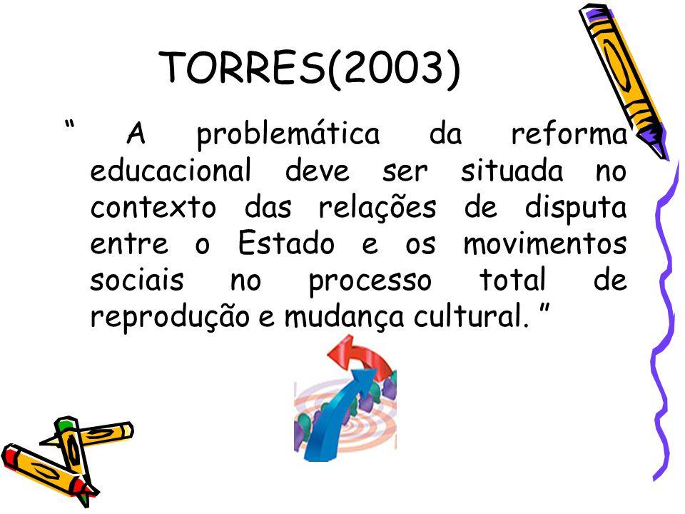 TORRES(2003) A problemática da reforma educacional deve ser situada no contexto das relações de disputa entre o Estado e os movimentos sociais no proc