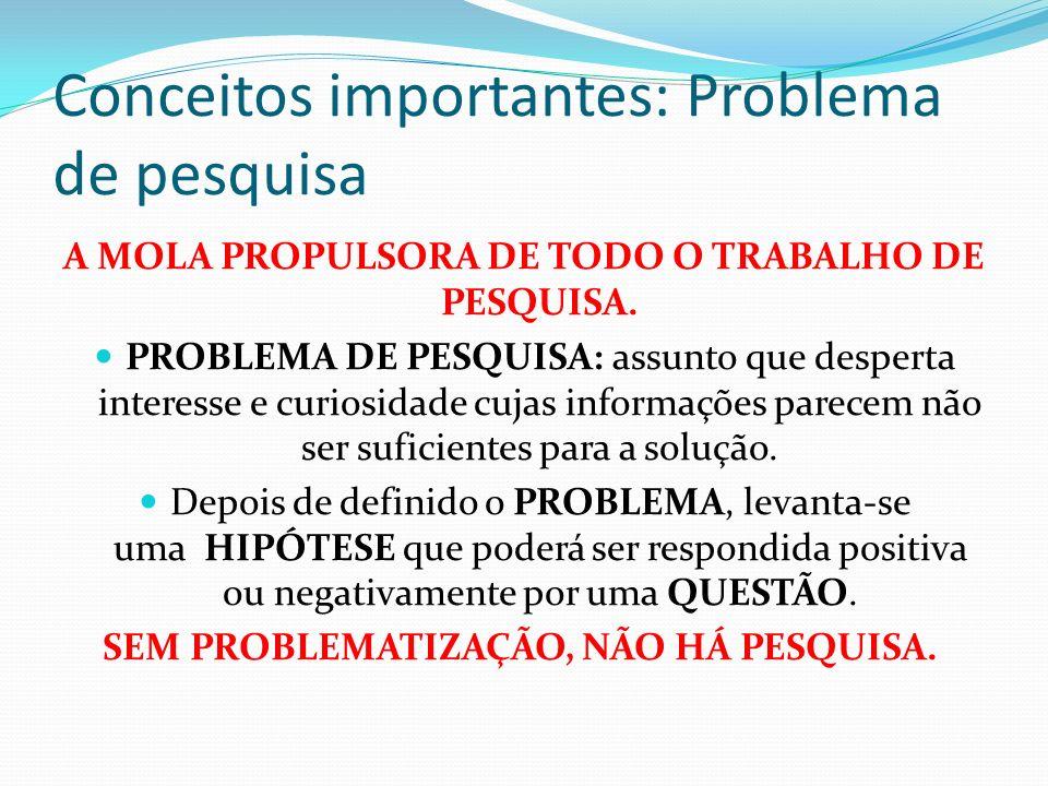 Conceitos importantes: Problema de pesquisa A MOLA PROPULSORA DE TODO O TRABALHO DE PESQUISA. PROBLEMA DE PESQUISA: assunto que desperta interesse e c