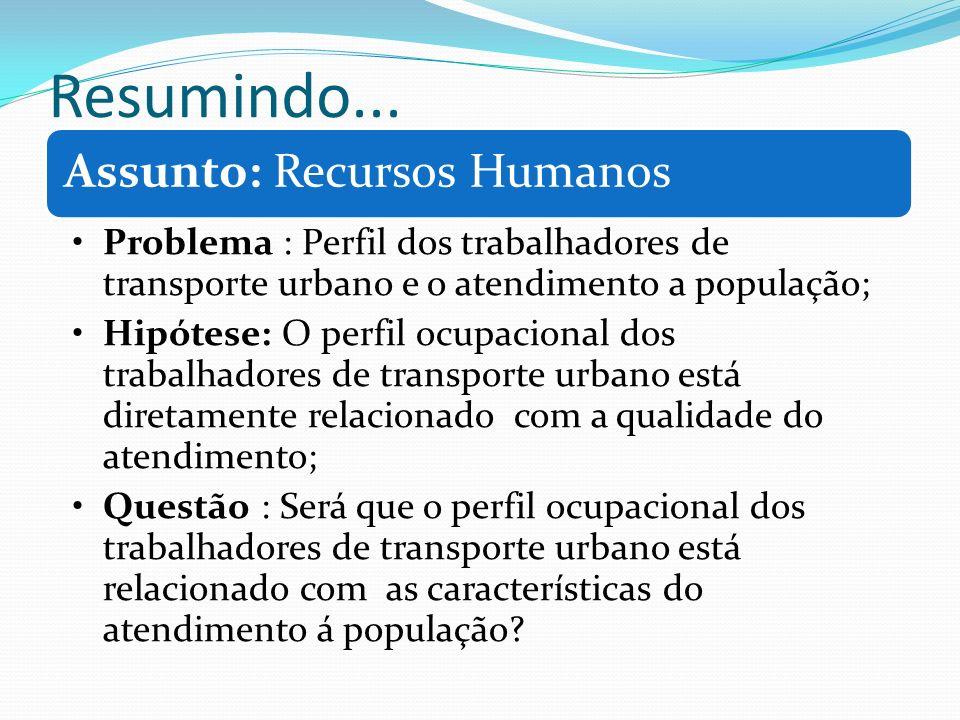 Resumindo... Assunto: Recursos Humanos Problema : Perfil dos trabalhadores de transporte urbano e o atendimento a população; Hipótese: O perfil ocupac