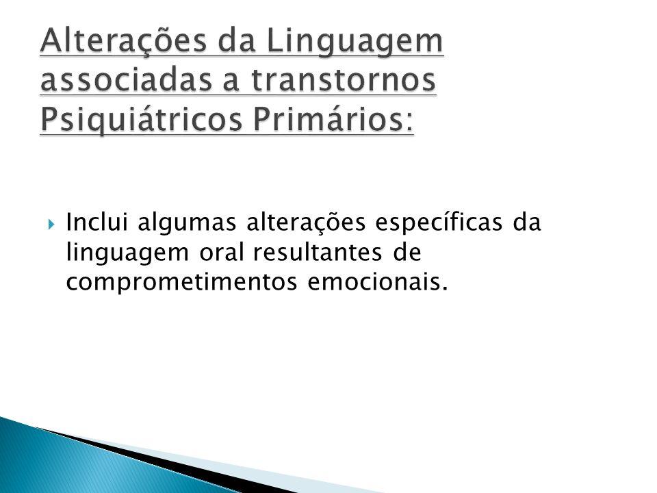 Inclui algumas alterações específicas da linguagem oral resultantes de comprometimentos emocionais.