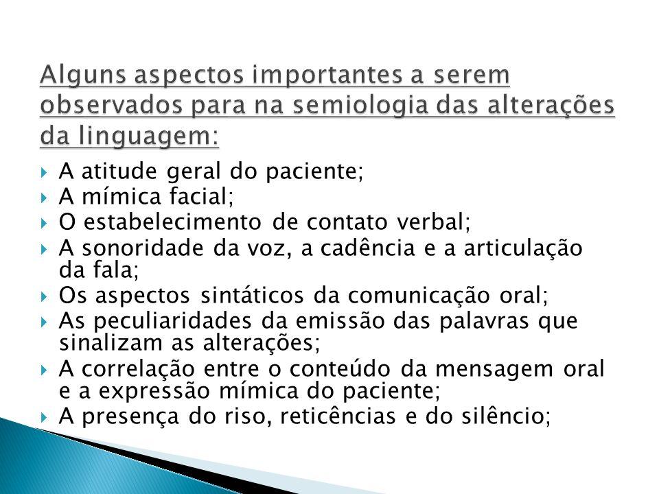 A atitude geral do paciente; A mímica facial; O estabelecimento de contato verbal; A sonoridade da voz, a cadência e a articulação da fala; Os aspecto