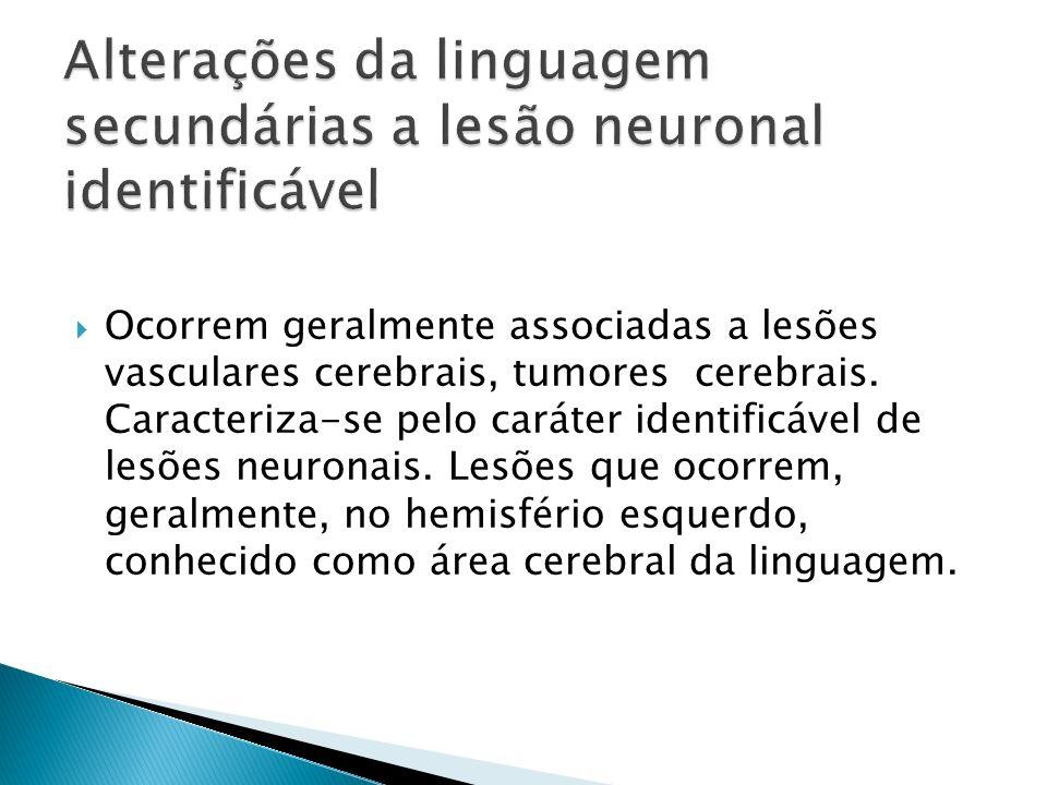 Ocorrem geralmente associadas a lesões vasculares cerebrais, tumores cerebrais. Caracteriza-se pelo caráter identificável de lesões neuronais. Lesões