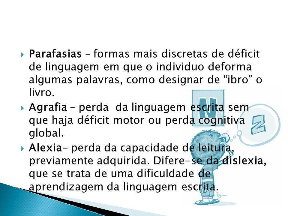 Parafasias – formas mais discretas de déficit de linguagem em que o individuo deforma algumas palavras, como designar de ibro o livro. Agrafia – perda