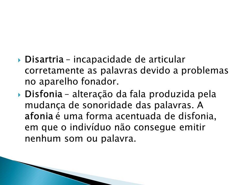 Disartria – incapacidade de articular corretamente as palavras devido a problemas no aparelho fonador. Disfonia – alteração da fala produzida pela mud