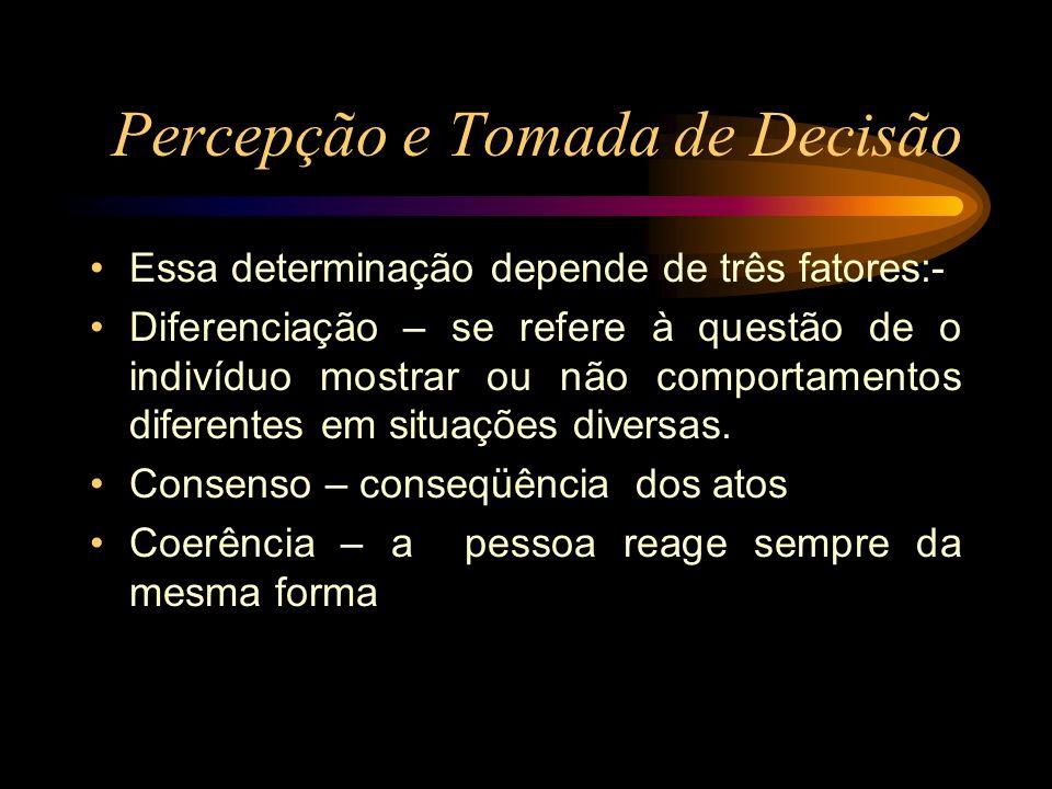 Percepção e Tomada de Decisão Essa determinação depende de três fatores:- Diferenciação – se refere à questão de o indivíduo mostrar ou não comportame
