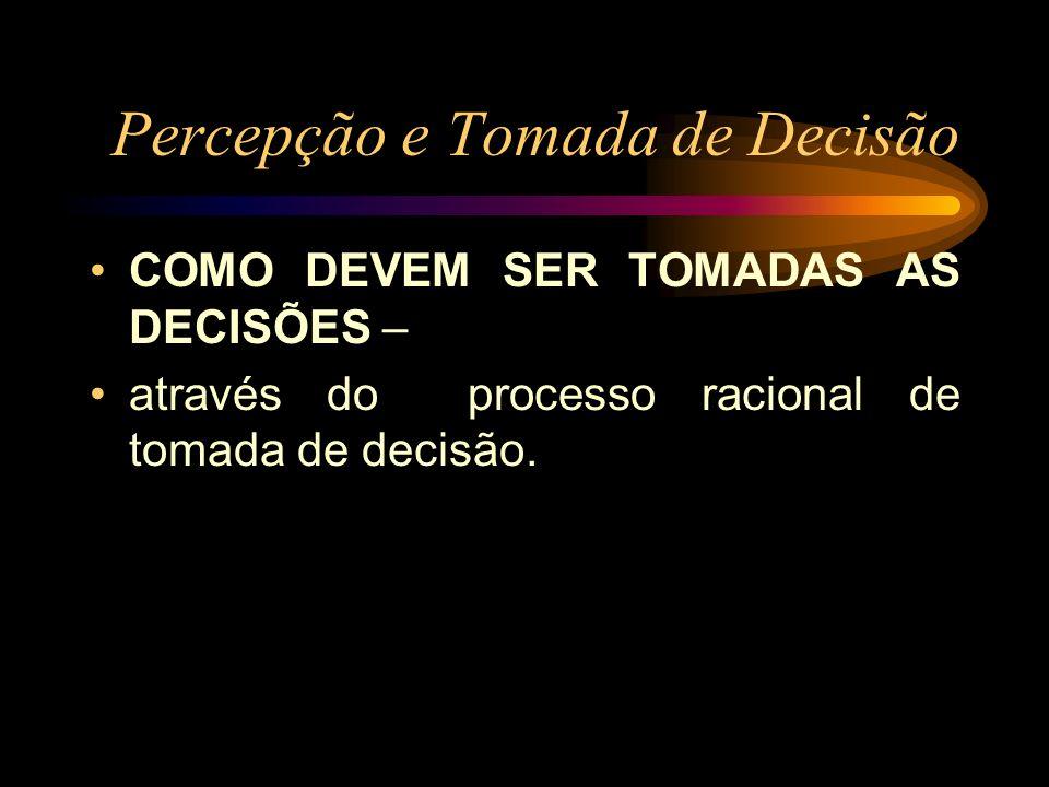 Percepção e Tomada de Decisão COMO DEVEM SER TOMADAS AS DECISÕES – através do processo racional de tomada de decisão.