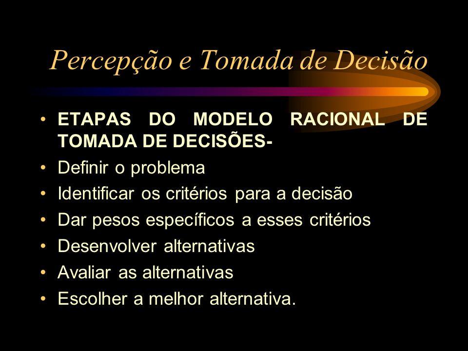 Percepção e Tomada de Decisão ETAPAS DO MODELO RACIONAL DE TOMADA DE DECISÕES- Definir o problema Identificar os critérios para a decisão Dar pesos es