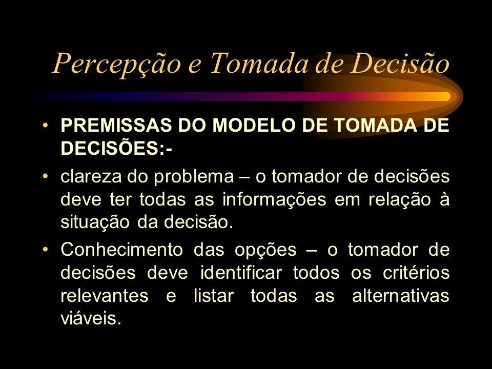 Percepção e Tomada de Decisão PREMISSAS DO MODELO DE TOMADA DE DECISÕES:- clareza do problema – o tomador de decisões deve ter todas as informações em