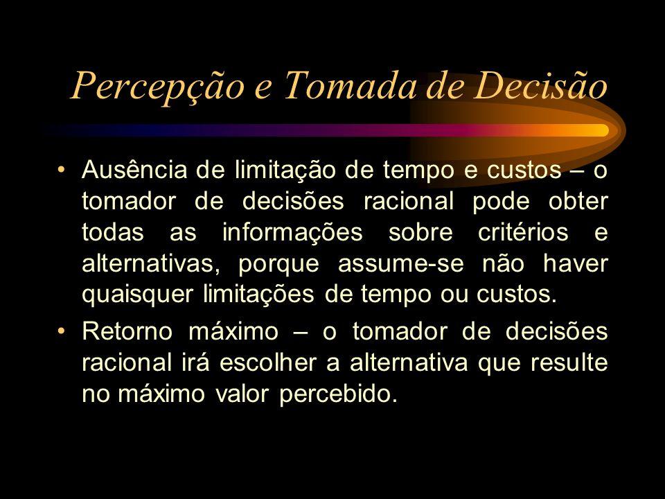 Percepção e Tomada de Decisão Ausência de limitação de tempo e custos – o tomador de decisões racional pode obter todas as informações sobre critérios