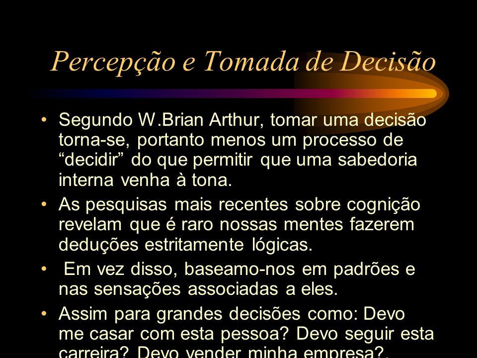 Percepção e Tomada de Decisão Segundo W.Brian Arthur, tomar uma decisão torna-se, portanto menos um processo de decidir do que permitir que uma sabedo