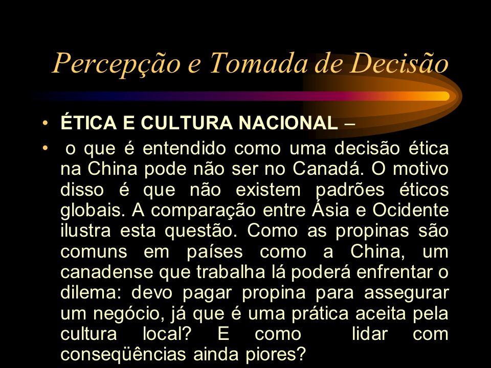 Percepção e Tomada de Decisão ÉTICA E CULTURA NACIONAL – o que é entendido como uma decisão ética na China pode não ser no Canadá. O motivo disso é qu