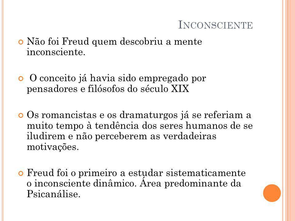 I NCONSCIENTE Não foi Freud quem descobriu a mente inconsciente. O conceito já havia sido empregado por pensadores e filósofos do século XIX Os romanc