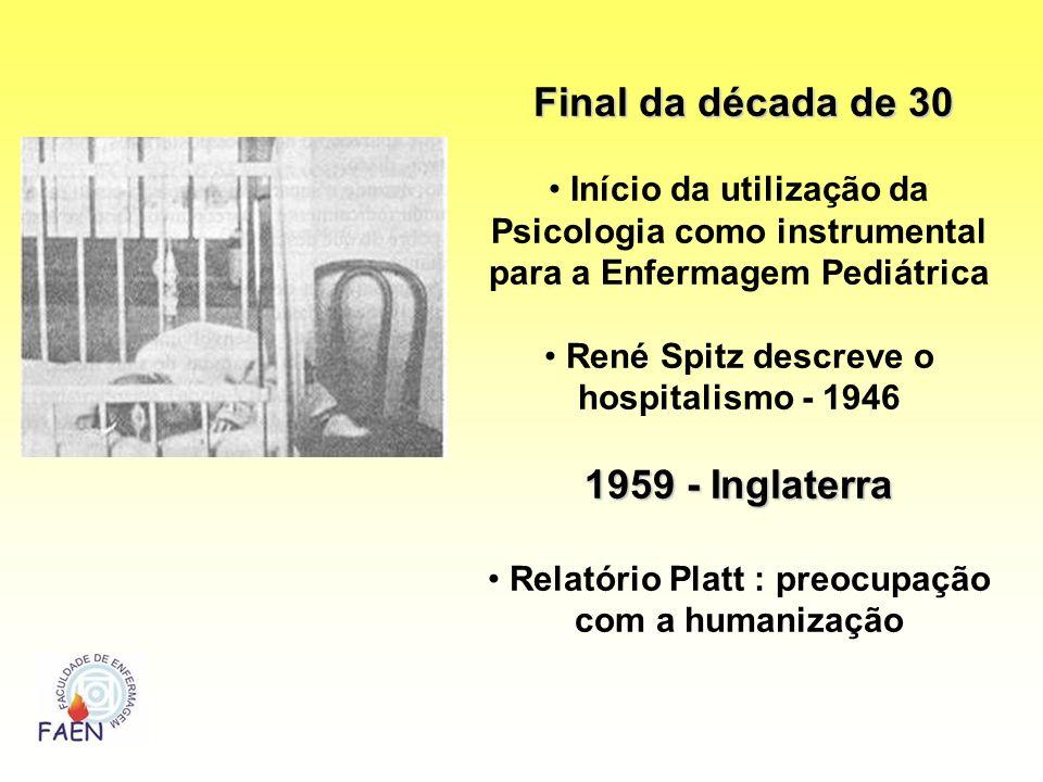Final da década de 30 Final da década de 30 Início da utilização da Psicologia como instrumental para a Enfermagem Pediátrica René Spitz descreve o ho